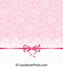 card with lace - Wedding or baby shower invitation or...