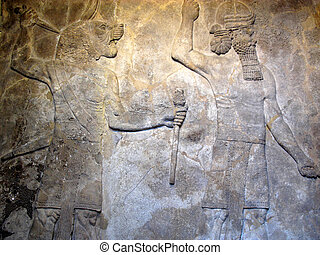 Protective Spirits Assyrian Relief - Ancient Assyrian relief...