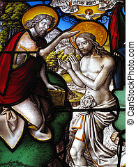 Stained Glass Baptism Of Christ - The baptism of Christ by...