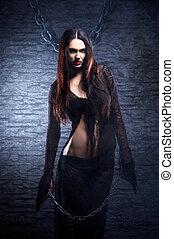 Halloween, concept:, joven, y, Sexy, bruja, Marcas, el,...