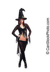 Sexy witch isolated on white