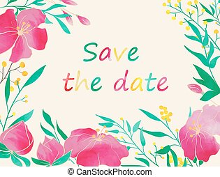 Flower tamplate copy - Save the date card Hand drawn vintage...