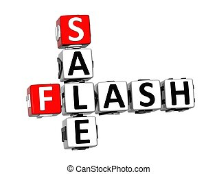 3D Crossword Sale Flash on white background