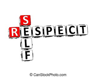 3D Crossword Self Respect on white background