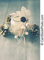 Candle - Photo with white candle and xmas decorations