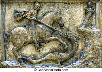 St George & The Dragon - Medieval 16th century relief of St...