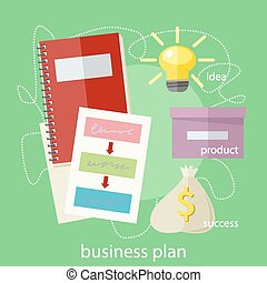 Business plan concept icons in flat style. Product idea....