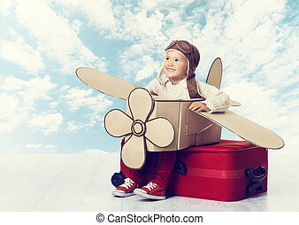 Little Child Playing Airplane Pilot, Kid Traveler Flying in Avia