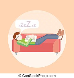 Man sleeping on sofa Household series Concept in cartoon...