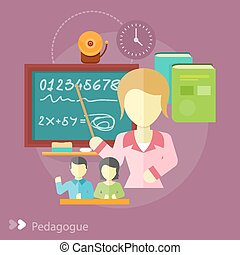 Pretty teacher with a pointer. Pedagogue concept in flat...