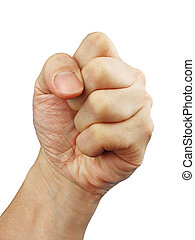 A clenched fist against a white background for easy...
