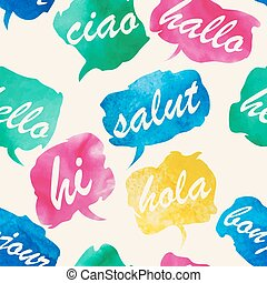 Watercolor Speech And Thought Bubbles - Seamless pattern...