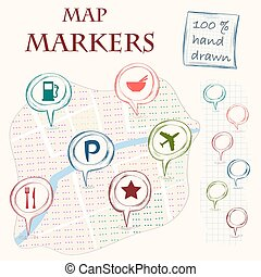 Map markers - Hand drawn doodle map markers and flat...