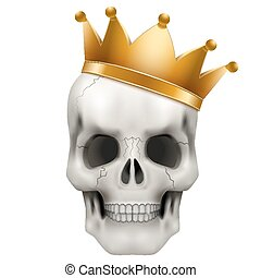 Vector Human skull with king golden crown