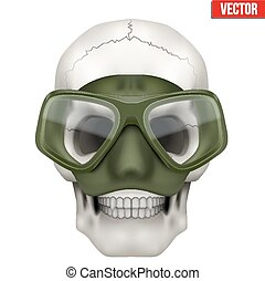 Vector Human skull with Underwater diving scuba mask on head...