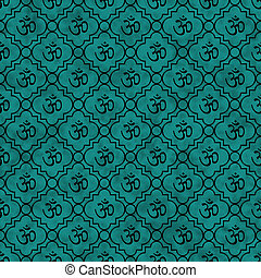 Teal and Black Aum Hindu Symbol Tile Pattern Repeat...