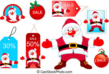 Santa designelements - Vector Christmas design elements with...