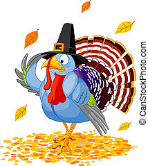 Pilgrim Turkey - Illustration of a Thanksgiving turkey with...