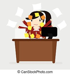 Overworked Concept - Business woman with many of post...
