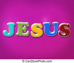 Colorful Jesus Theme - The name of JESUS written in colorful...