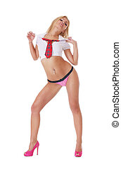 Young sexy blond wearing sexy lingerie isolated over white...