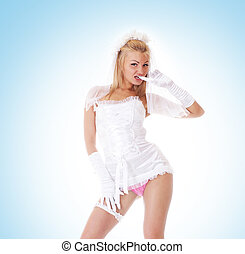 Young sexy bride in vulgar pose over blue
