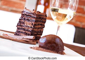 chocolate, esponja, postre