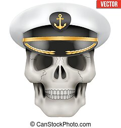 Vector Human skull with sea captain cap on head