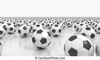 Endless soccer balls - Flying over the field covered by...