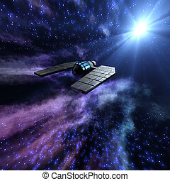 Starry space 3d scene with spaceship - Magnificient starry...