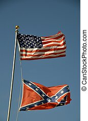USA and Confederate flags - The USA and Confederate flags...