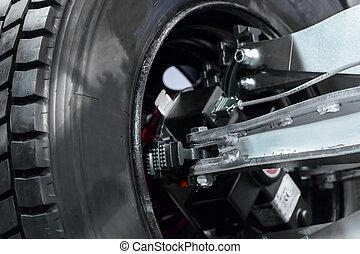 Wheel balancing close up photo