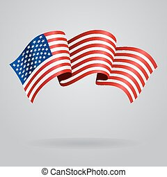 American waving Flag. Vector illustration Eps 8.