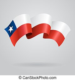 Chilean waving Flag. Vector illustration Eps 8.