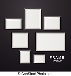 photo frame mockup set isolated on black wall