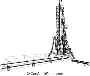 Oil rig. Detailed vector illustration