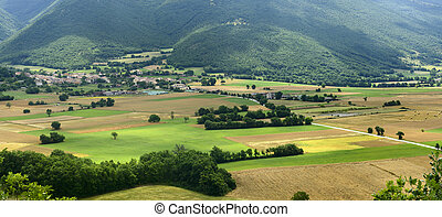 Forca Canapine (Umbria) - View on the plain of Norcia from...