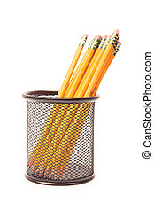 lead pencils in metal pot on a white background