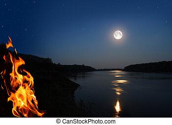 noche, paisaje, hoguera