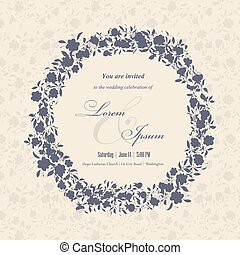 Wedding invitation cards with floral elements. Floral lace...