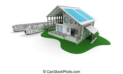 3D house with solar panels - 3d house with solar panels
