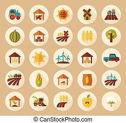 Farm Field flat icon with long shadow, eps 10