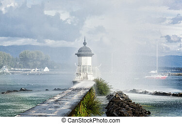 Beacon on the lake Leman in Geneva, Switzerland