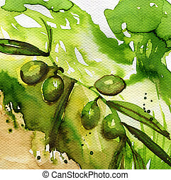 olives - watercolor illustration depicting green olives