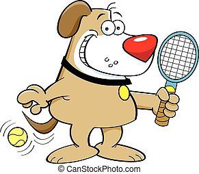 Cartoon dog playing tennis - Cartoon illustration of a dog...