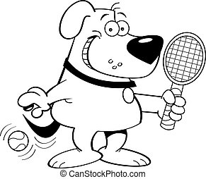 Cartoon dog playing tennis - Black and white illustration of...