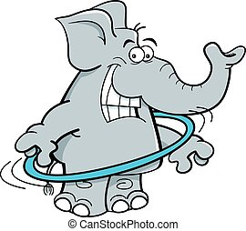 Cartoon elephant with a hula hoop. - Cartoon illustration of...