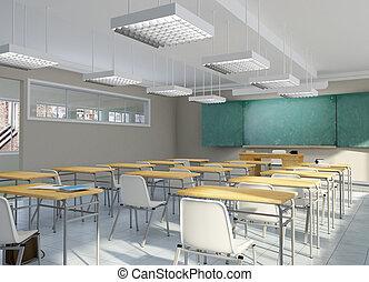 Classroom - 3D rendering of a school classroom
