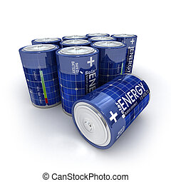Solar batteries - A group of 1.5 volts batteries with solar...