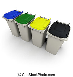 Recycling bins - 3D rendering of four garbage bins with...